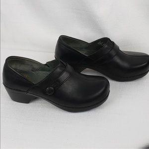 Black leather Danako Clogs